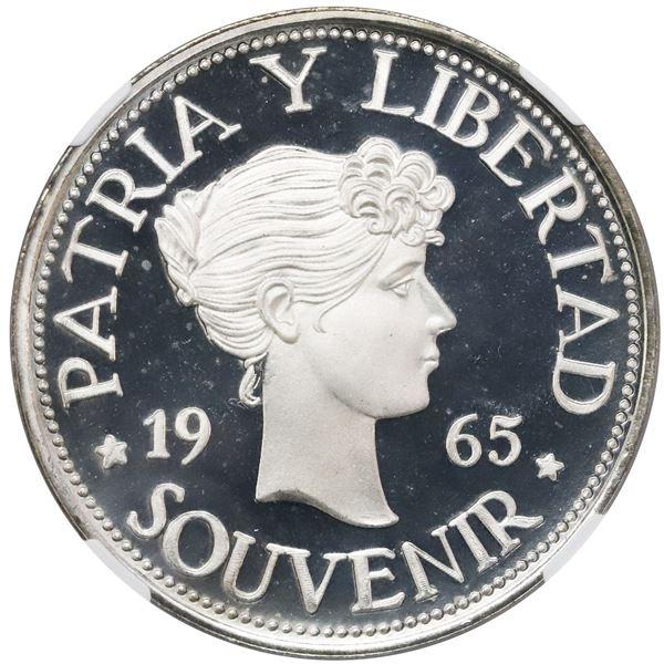 "Cuba, proof ""souvenir"" peso (""Bay of Pigs"" exile issue), 1965, plain edge, NGC PF 66 Ultra Cameo."
