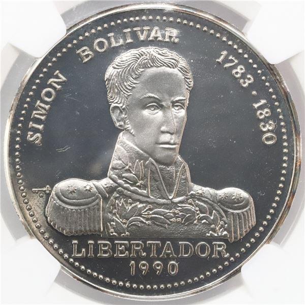"Cuba, 10 pesos, 1990, Simon Bolivar, NGC PF 69 Ultra Cameo, ""top pop."""