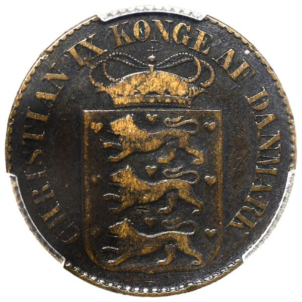 Danish West Indies, bronze 1 cent, Christian IX, 1879, PCGS VF30 BN, finest and only example in PCGS