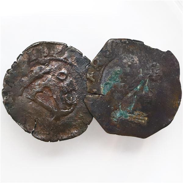 Lot of two Santo Domingo, Dominican Republic, copper 4 maravedis, Charles-Joanna, assayer F, one wit