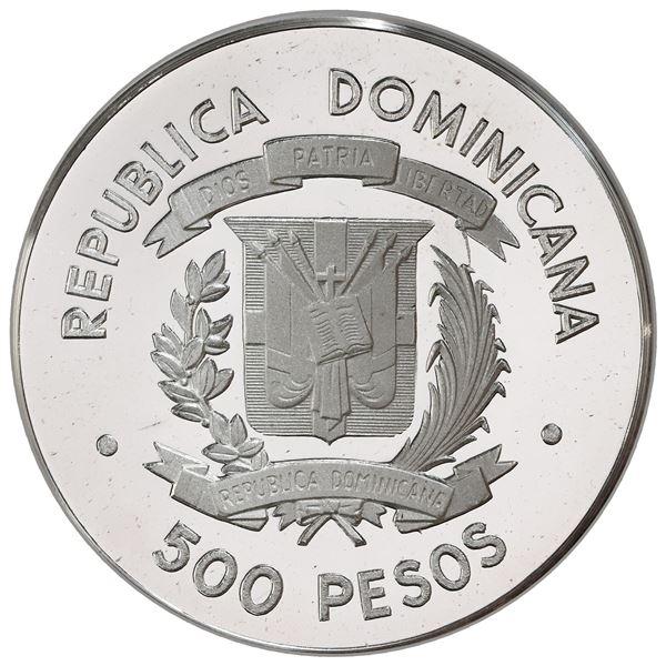 Dominican Republic, silver proof pattern 500 pesos, 1976, plain edge, first American visit of the Ki