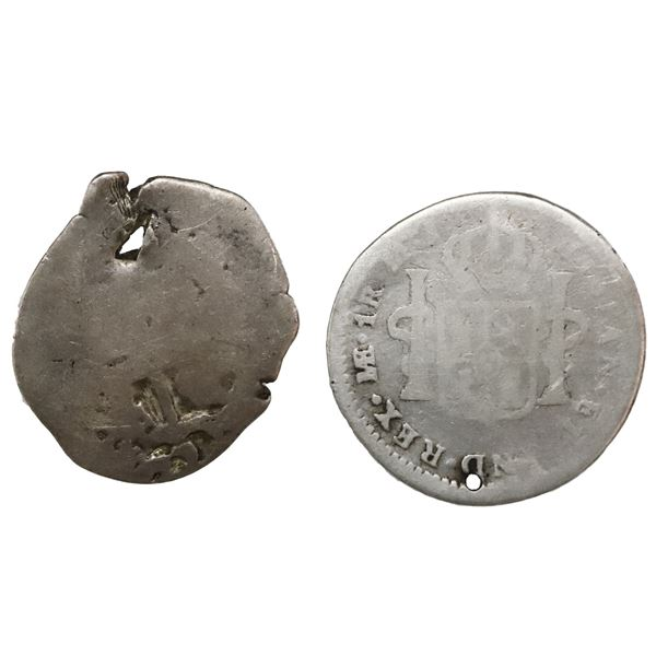 Lot of two El Salvador, 1R, arms countermarks: one (Type V, 1868) on bust side of a Lima, Peru, bust