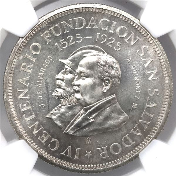 El Salvador (struck at the Mexico City mint), 1 colon, 1925, 400th anniversary of the founding of Sa