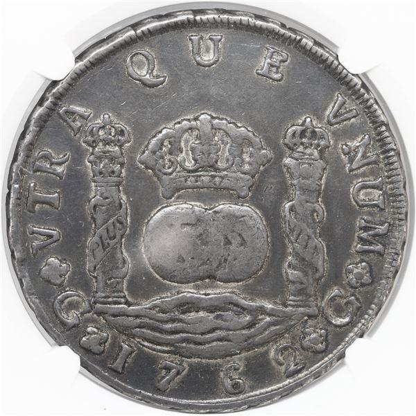 Guatemala, pillar 8 reales, Charles III, 1762P, rare, NGC VF details / rev scratched.