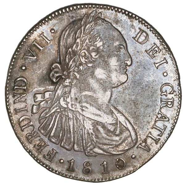 Guatemala, bust 8 reales, Ferdinand VII transitional (bust of Charles IV), 1810M, NGC AU details / e