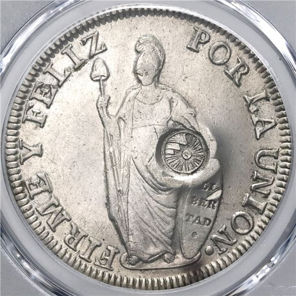 Guatemala, 8 reales, Type IV counterstamp (1841) on a Lima, Peru, 8 reales, 1833MM, PCGS AU details