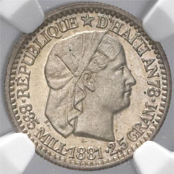 Haiti, 10 centimes, 1881, NGC MS 62.
