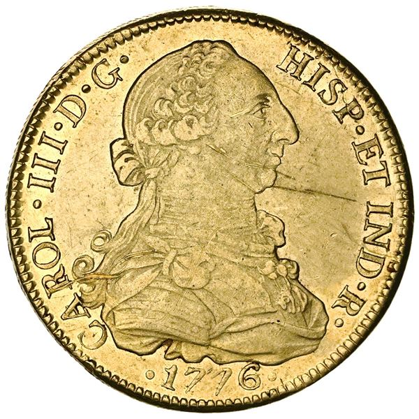 Mexico City, Mexico, gold bust 8 escudos, Charles III, 1776FM.