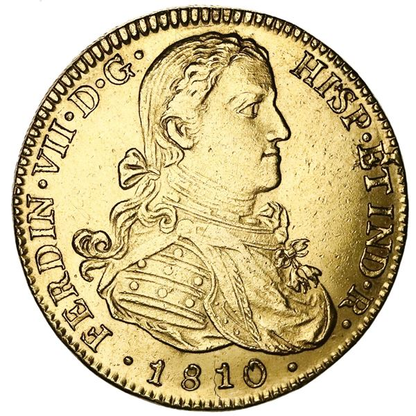 """Mexico City, Mexico, gold bust 8 escudos, Ferdinand VII transitional (""""armored"""" bust), 1810HJ."""