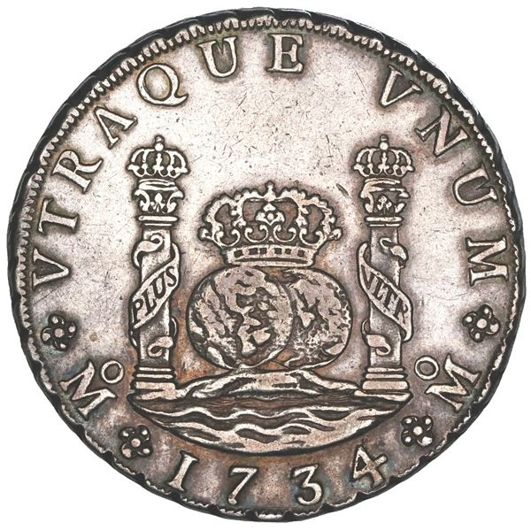 Mexico City, Mexico, pillar 8 reales, Philip V, 1734MF, NGC XF details / cleaned.