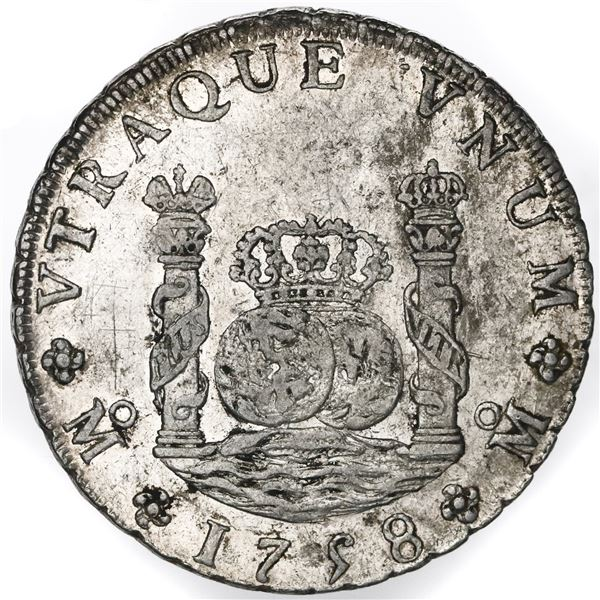Mexico City, Mexico, pillar 8 reales, Ferdinand VI, 1758MM, with chopmarks as from circulation in As