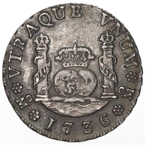 Mexico City, Mexico, pillar 2 reales, Philip V, 1736MF, ex-Potomac.