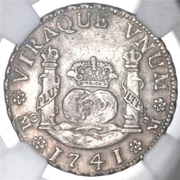 Mexico City, Mexico, pillar 2 reales, Philip V, 1741MF, NGC AU 53.