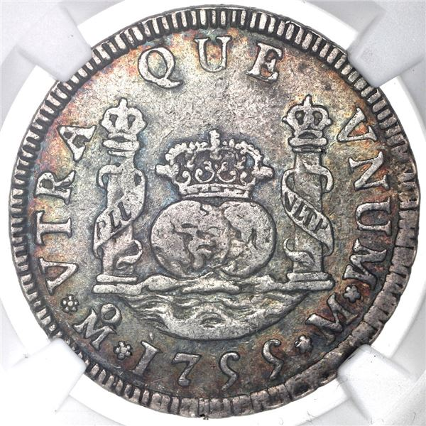Mexico City, Mexico, pillar 2 reales, Ferdinand VI, 1755M, NGC XF 45.