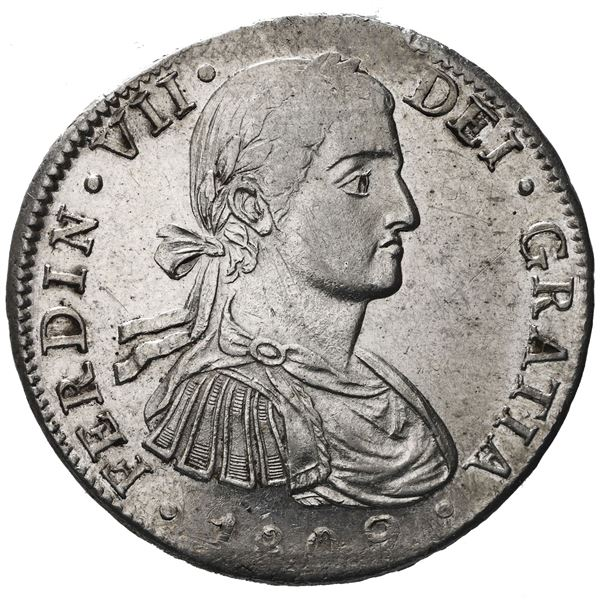 """Mexico City, Mexico, bust 8 reales, Ferdinand VII transitional (""""armored"""" bust), 1809TH."""