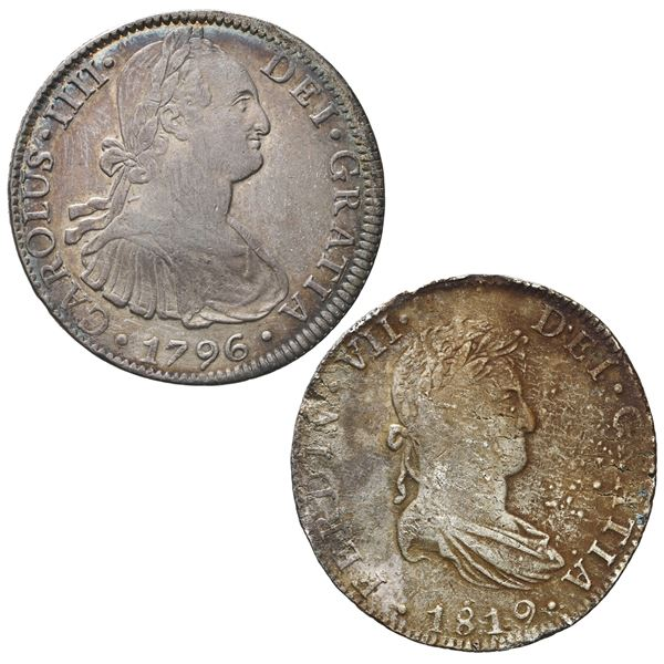 Lot of two Mexico City, Mexico, bust 8 reales, both ex-Bevill: 1796FM (Charles IV) and 1819JJ (Ferdi