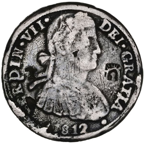 Chihuahua, Mexico, cast silver bust 8 reales, Ferdinand VII, 1812RP, with official countermarks flan