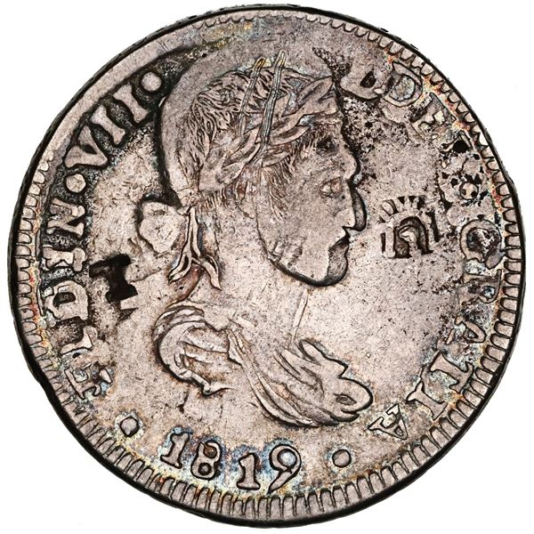 Chihuahua, Mexico, bust 8 reales, Ferdinand VII, 1819RP, struck over an earlier Chihuahua cast silve