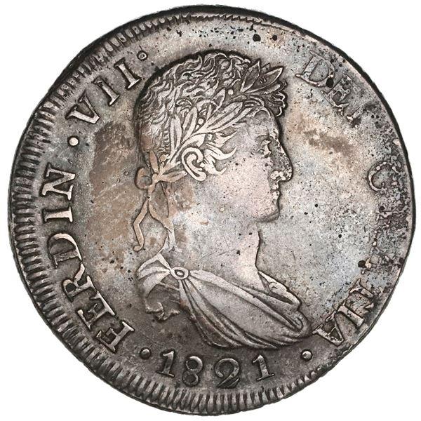 Durango, Mexico, bust 8 reales, Ferdinand VII, 1821CG, NGC XF 45.