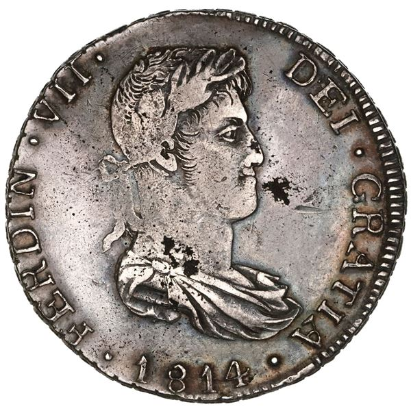Guadalajara, Mexico, bust 8 reales, Ferdinand VII, 1814MR, NGC XF details / cleaned.