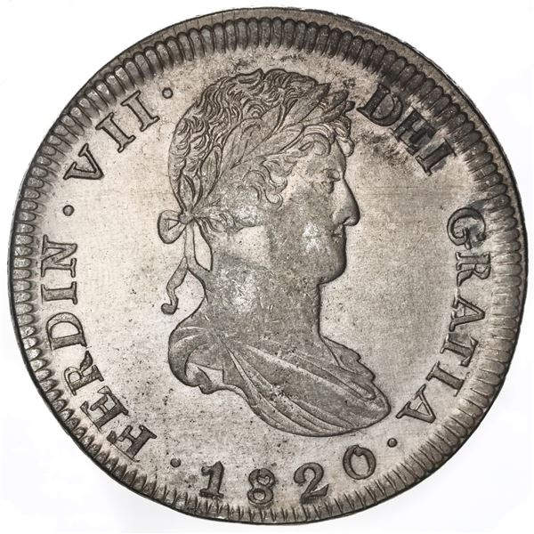 Zacatecas, Mexico, bust 8 reales, Ferdinand VII, 1820AG.
