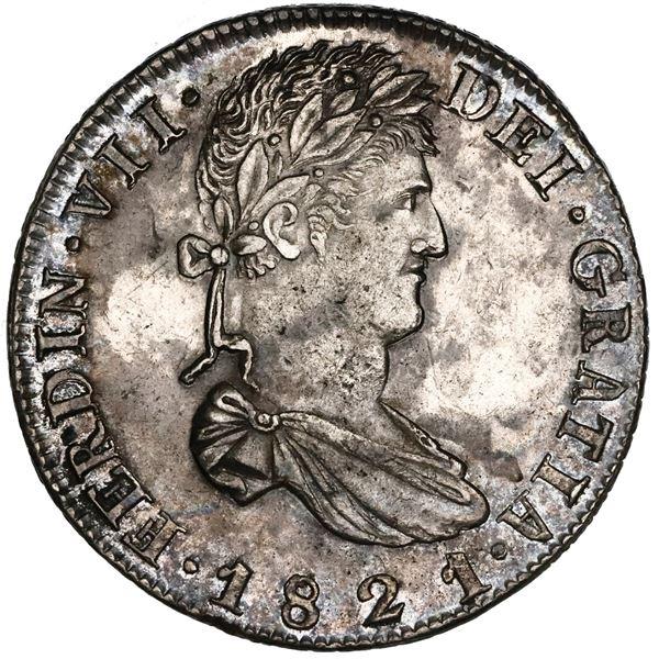 Zacatecas, Mexico, bust 8 reales, Ferdinand VII, 1821RG, HISPAN variety, NGC AU 58.