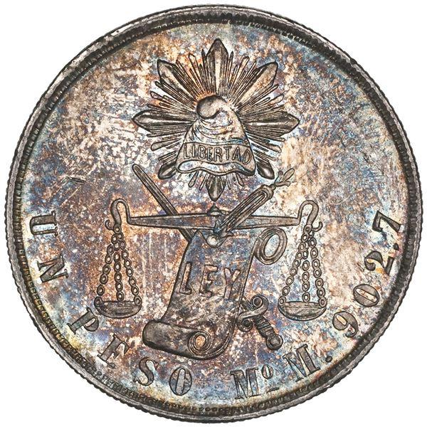Mexico City, balance-scale peso, 1871M, NGC MS 62.