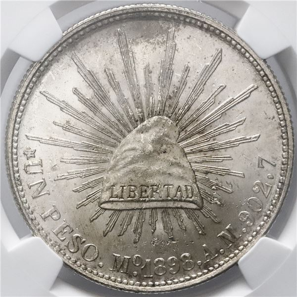 Mexico City, Mexico, cap-and-rays 1 peso, 1898AM, restrike issue, NGC MS 64.