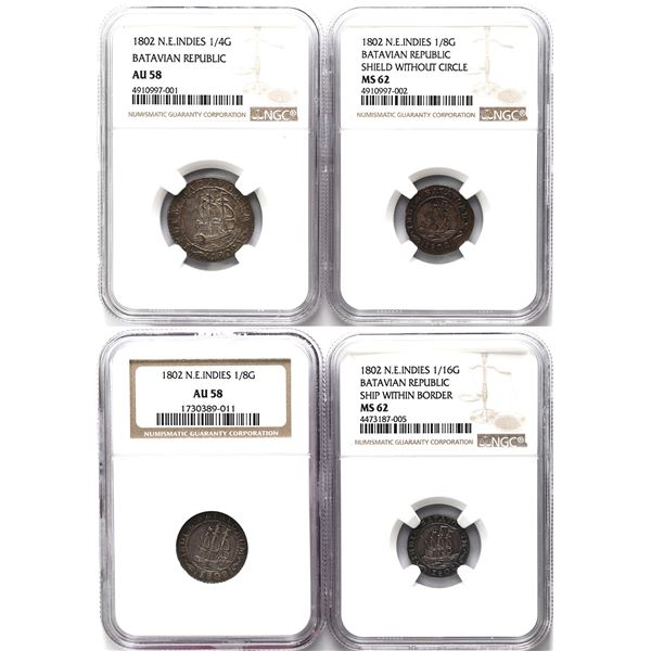 Lot of four Batavian Republic (Netherlands East Indies) coins: 1/4 gulden, 1802, NGC AU 58; 1/8 guld