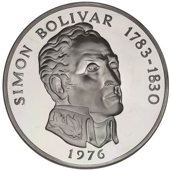 "Panama, proof 20 balboas, 1976FM, Simon Bolivar, NGC PF 69 Ultra Cameo (""top pop"")."