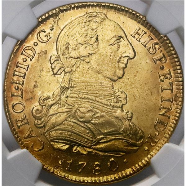 Lima, Peru, gold bust 8 escudos, Charles III, 1780MI, NGC AU details / cleaned.