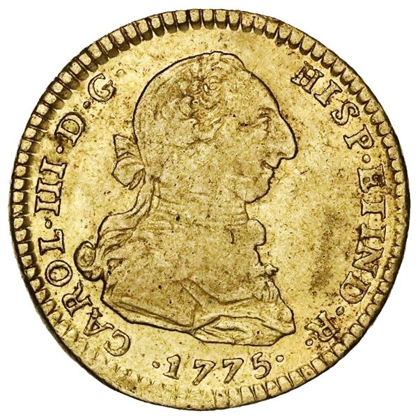 Lima, Peru, gold bust 2 escudos, Charles III, 1775MJ.