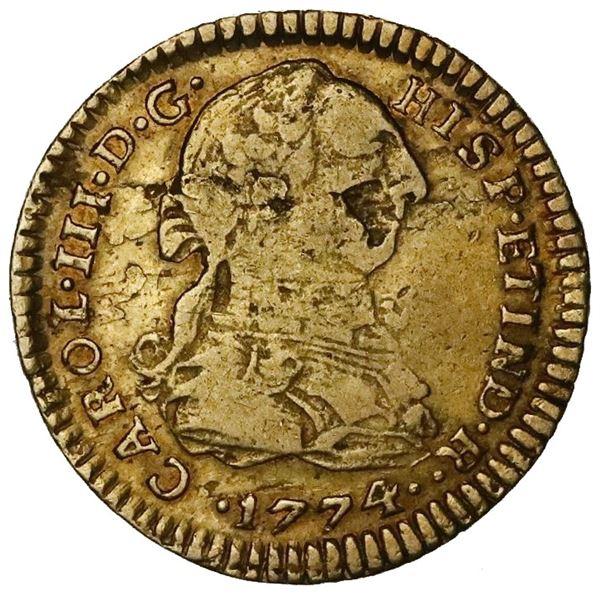 Lima, Peru, gold bust 1 escudo, Charles III, 1774MJ.