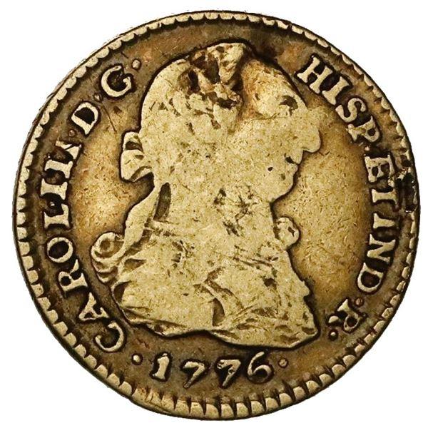 Lima, Peru, gold bust 1 escudo, Charles III, 1776MJ.