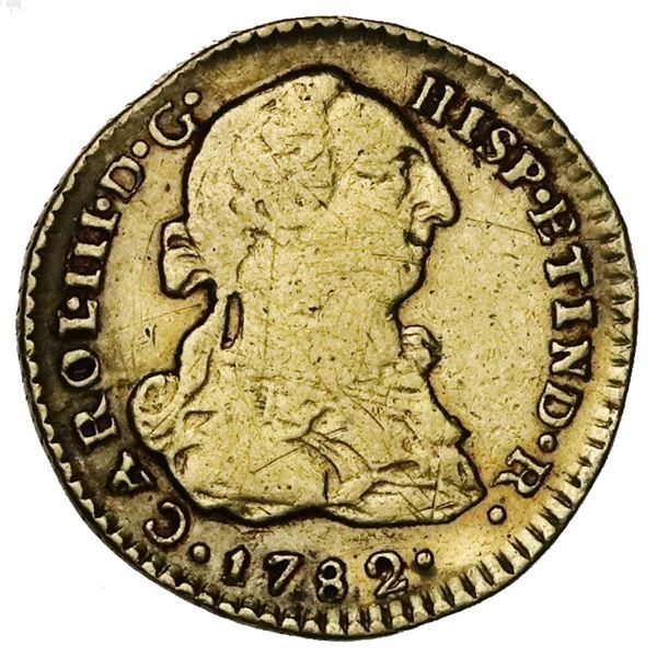 Lima, Peru, gold bust 1 escudo, Charles III, 1782MI.