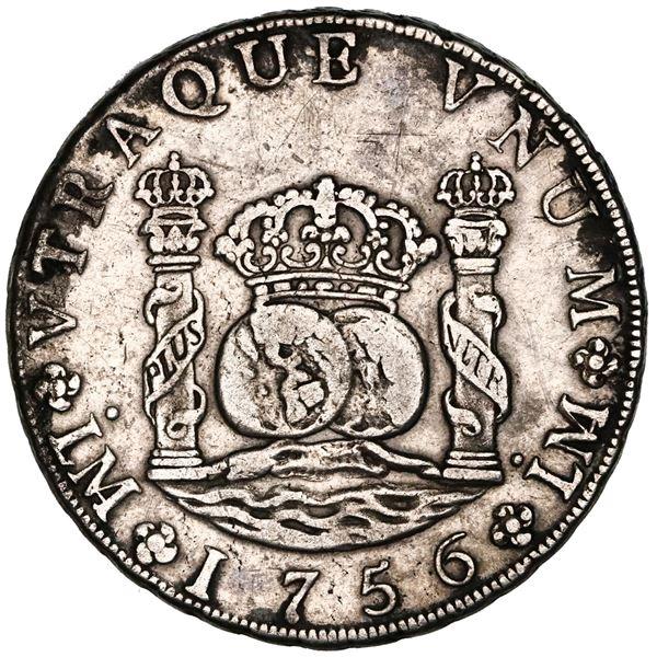 Lima, Peru, pillar 8 reales, Ferdinand VI, 1756JM, dots over both mintmarks, NGC XF details / obv gr