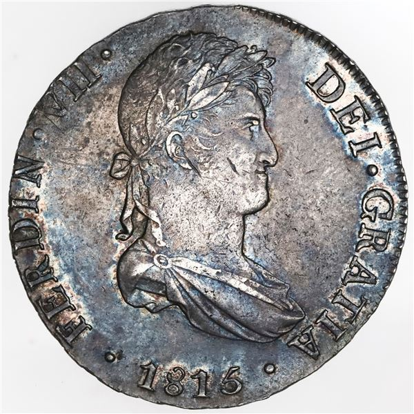 Lima, Peru, bust 8 reales, Ferdinand VII transitional, 1815JP, NGC AU 55.