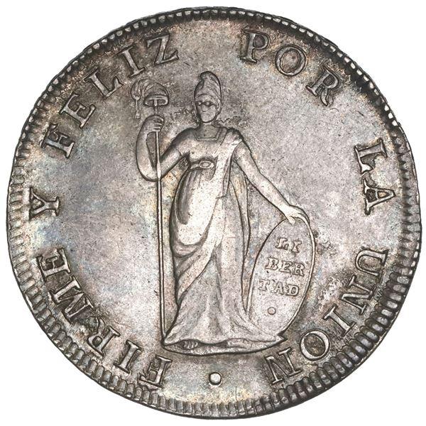 Lima, Peru, 8 reales, 1825JM, NGC AU 58.