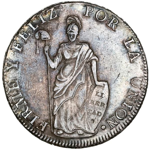 Cuzco, Peru, 8 reales, 1831G, NGC AU details / rev spot removed.