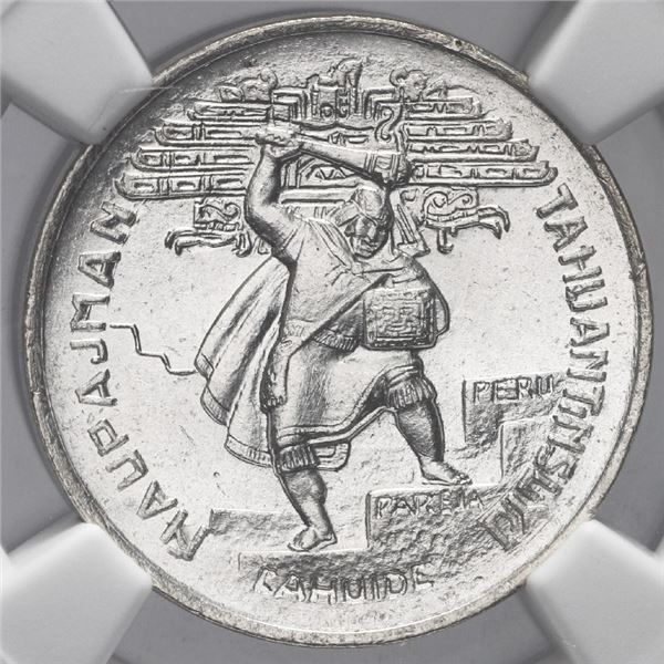 Lima, Peru, silver 1-sol token, 1932, national defense, NGC MS 65.