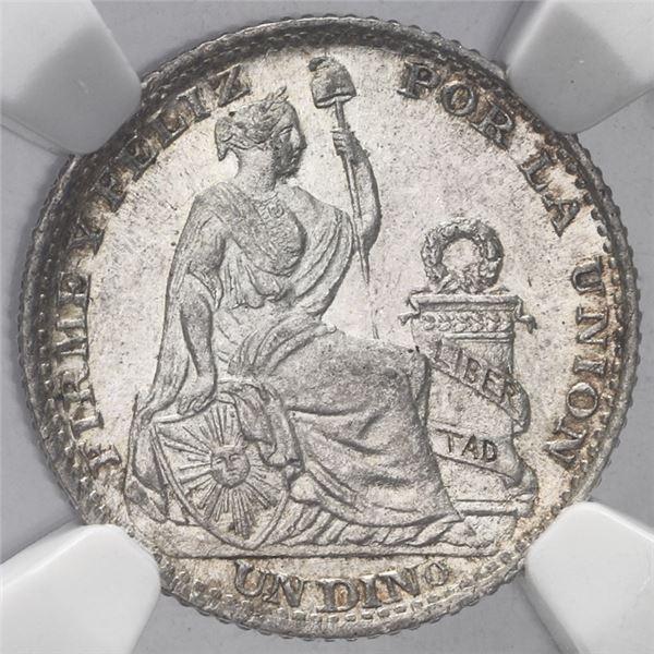 Lima, Peru, 1 dinero, 1893TF, NGC MS 62.