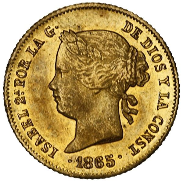 Philippines (under Spain), gold 4 pesos, Isabel II, 1865.
