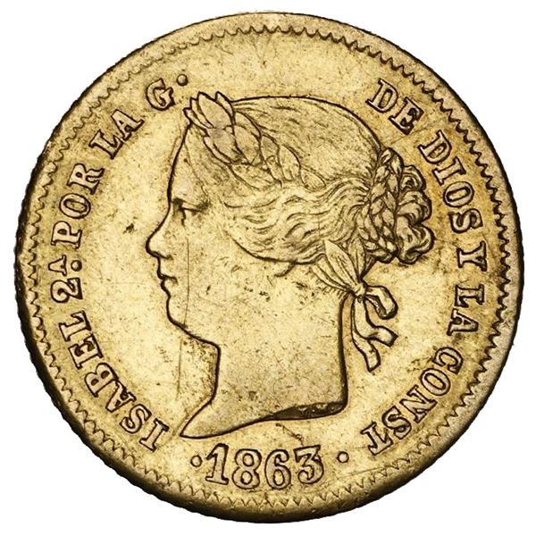 Philippines (under Spain), gold 2 pesos, Isabel II, 1863/2.