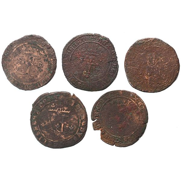 Lot of five Spanish copper 4 maravedis, Ferdinand-Isabel (various mints), four of them from the spec