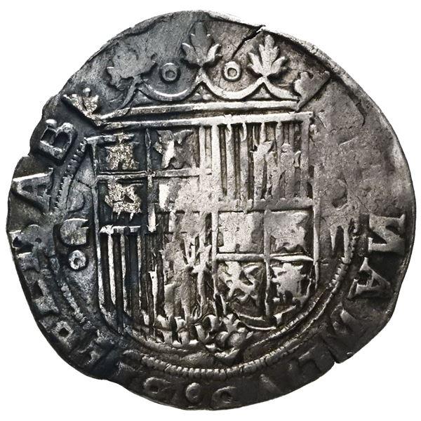 Granada, Spain, 2 reales, Ferdinand-Isabel, assayer R on reverse, mintmark oGo to left of shield.