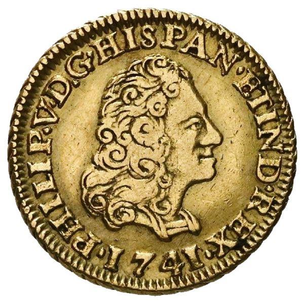 Seville, Spain, gold bust 1 escudo, Philip V, 1741/0PJ.