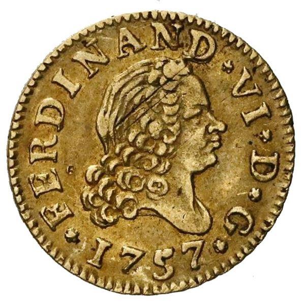 Madrid, Spain, gold bust 1/2 escudo, Ferdinand VI, 1757JB.