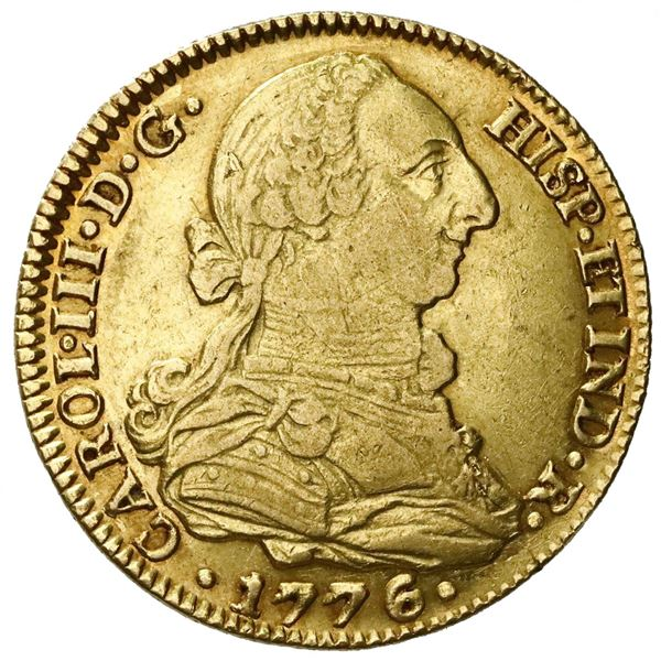 Seville, Spain, gold bust 4 escudos, Charles III, 1776CF.