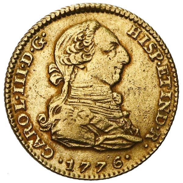 Madrid, Spain, gold bust 2 escudos, Charles III, 1776PJ.