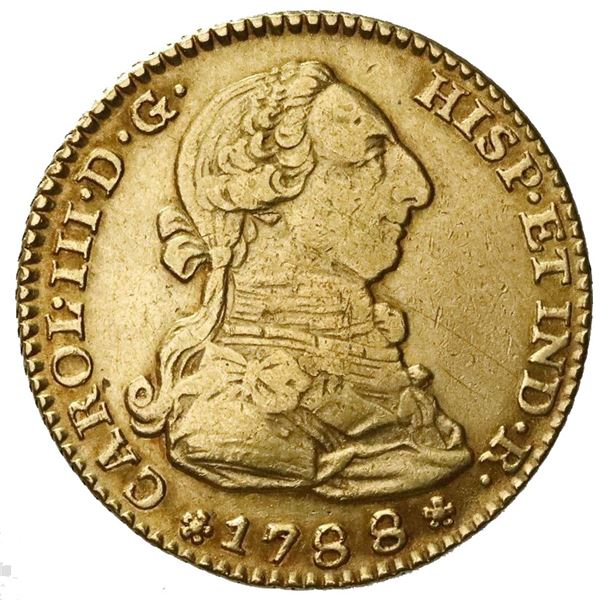 Madrid, Spain, gold bust 2 escudos, Charles III, 1788M.